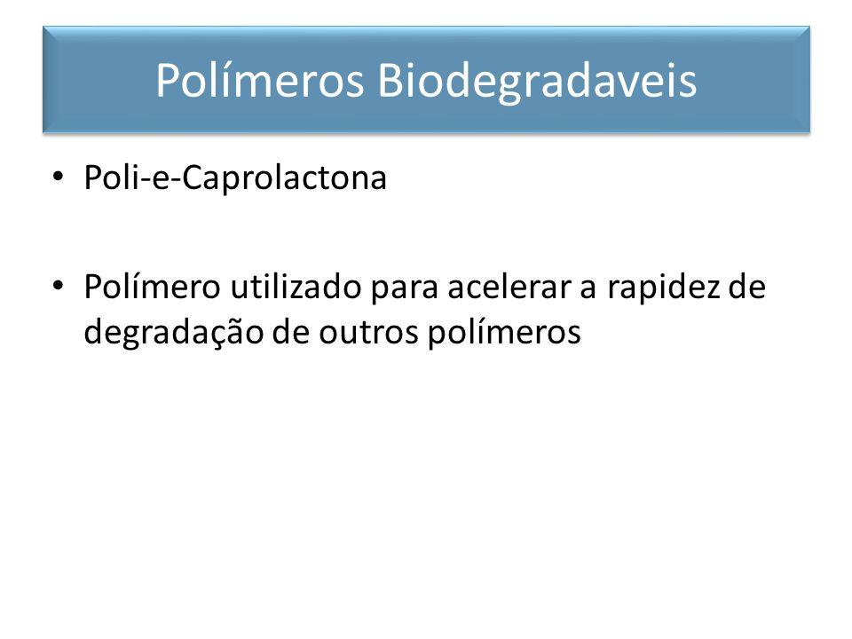 Poli-e-Caprolactona Polímero utilizado para acelerar a rapidez de degradação de outros polímeros Polímeros Biodegradaveis