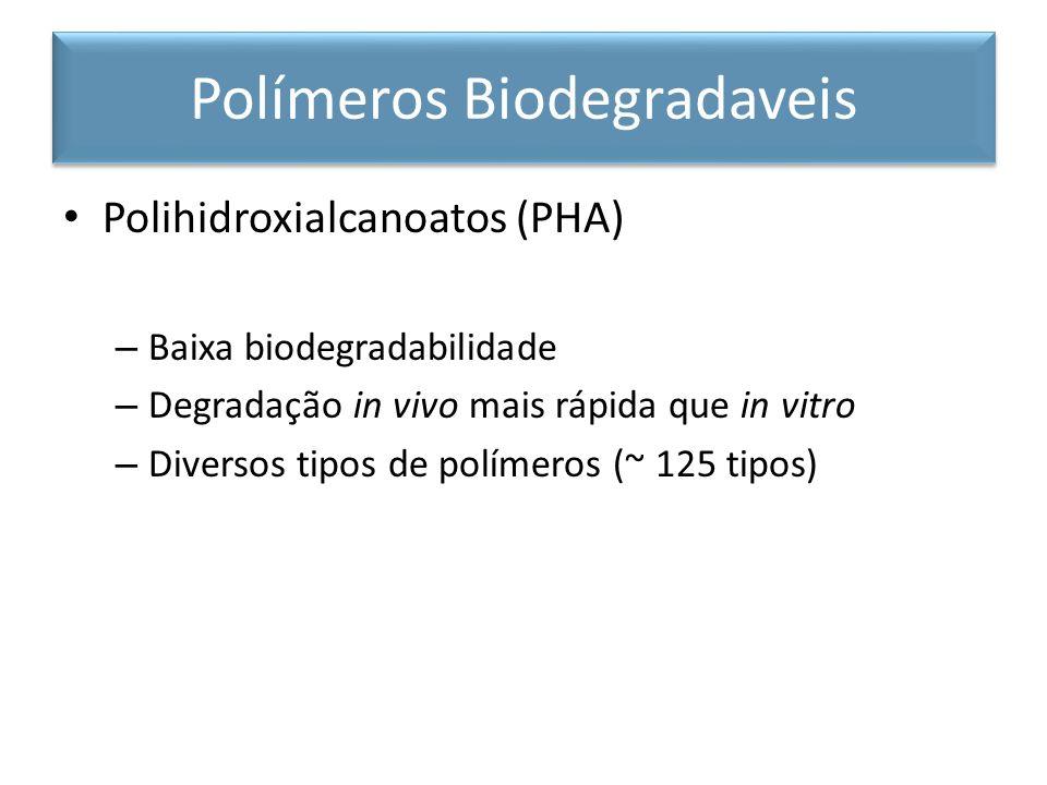 Polihidroxialcanoatos (PHA) – Baixa biodegradabilidade – Degradação in vivo mais rápida que in vitro – Diversos tipos de polímeros (~ 125 tipos) Polímeros Biodegradaveis