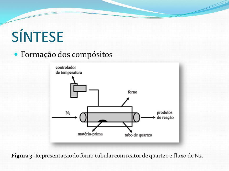 SÍNTESE Formação dos compósitos Figura 3. Representação do forno tubular com reator de quartzo e fluxo de N2.