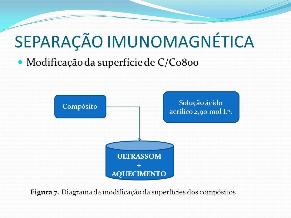SEPARAÇÃO IMUNOMAGNÉTICA Modificação da superfície de C/Co800 Compósito Solução ácido acrílico 2,90 mol L -1. ULTRASSOM + AQUECIMENTO Figura 7. Diagra