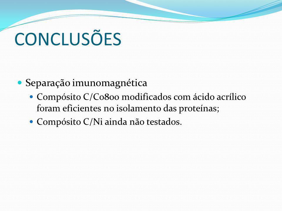 CONCLUSÕES Separação imunomagnética Compósito C/Co800 modificados com ácido acrílico foram eficientes no isolamento das proteínas; Compósito C/Ni aind