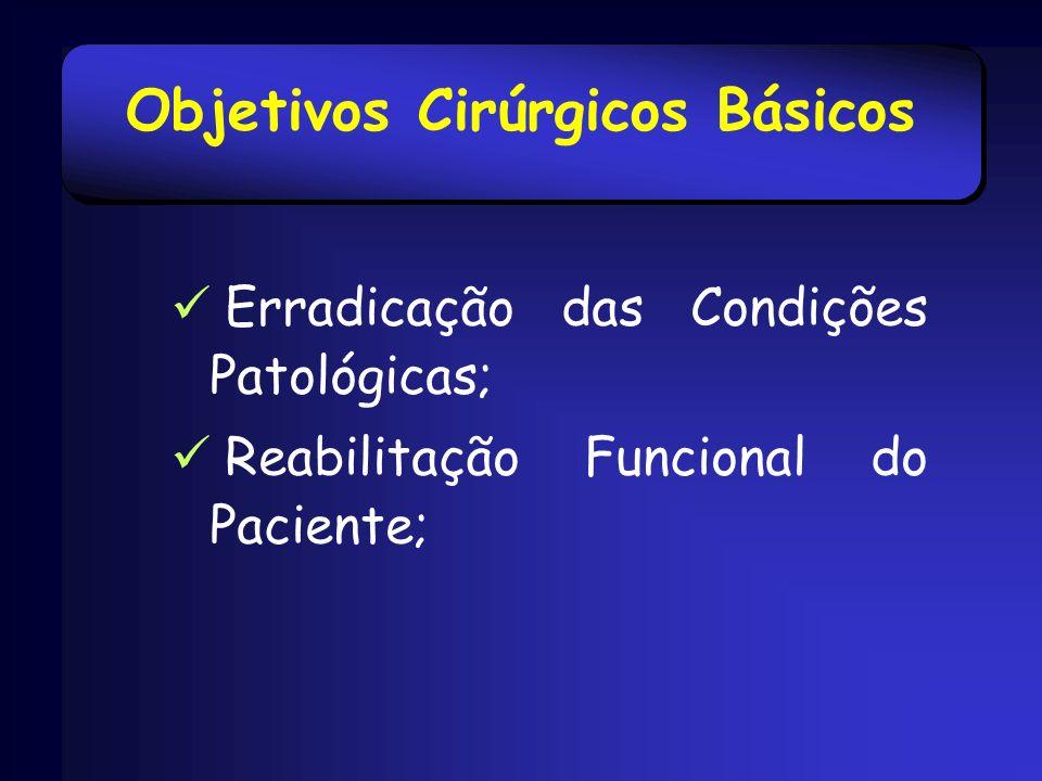 Objetivos Cirúrgicos Básicos Erradicação das Condições Patológicas; Reabilitação Funcional do Paciente;
