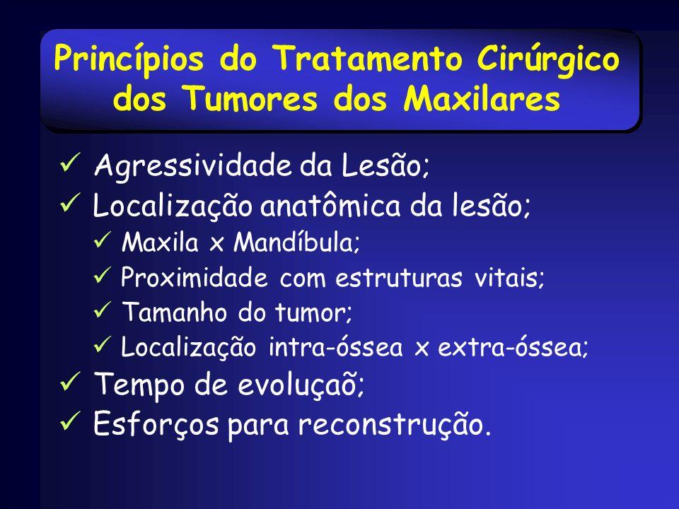 Princípios do Tratamento Cirúrgico dos Tumores dos Maxilares Agressividade da Lesão; Localização anatômica da lesão; Maxila x Mandíbula; Proximidade c