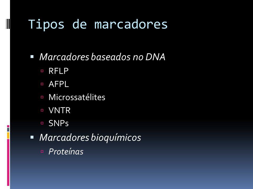 Tipos de marcadores Marcadores baseados no DNA RFLP AFPL Microssatélites VNTR SNPs Marcadores bioquímicos Proteínas