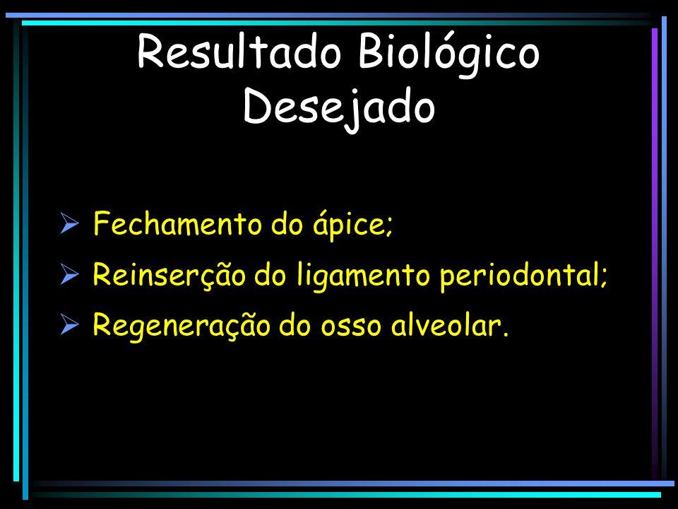 Resultado Biológico Desejado Fechamento do ápice; Reinserção do ligamento periodontal; Regeneração do osso alveolar.