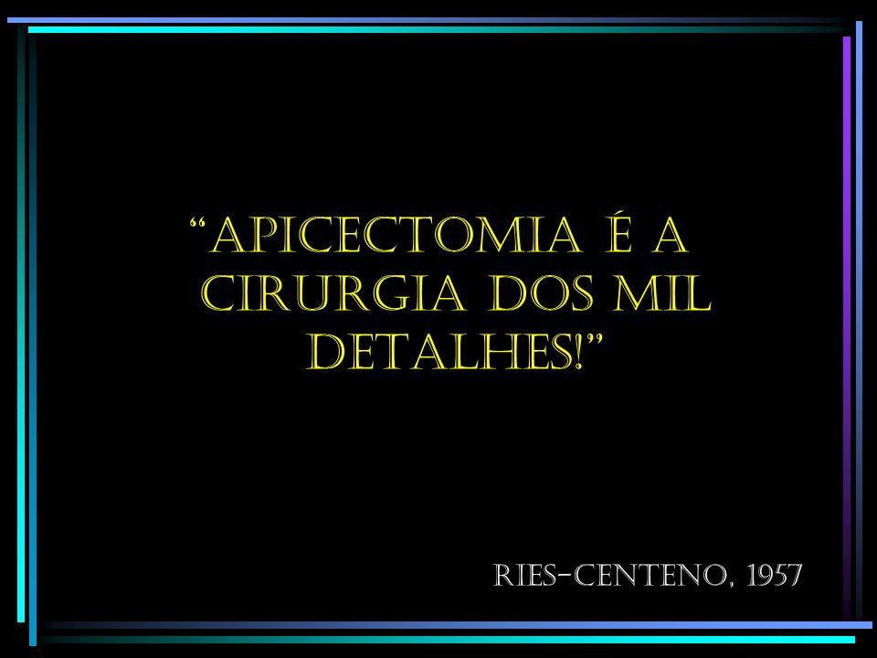 Apicectomia é a cirurgia dos mil detalhes! Ries-centeno, 1957