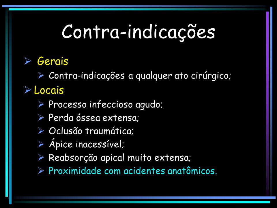 Contra-indicações Gerais Contra-indicações a qualquer ato cirúrgico; Locais Processo infeccioso agudo; Perda óssea extensa; Oclusão traumática; Ápice