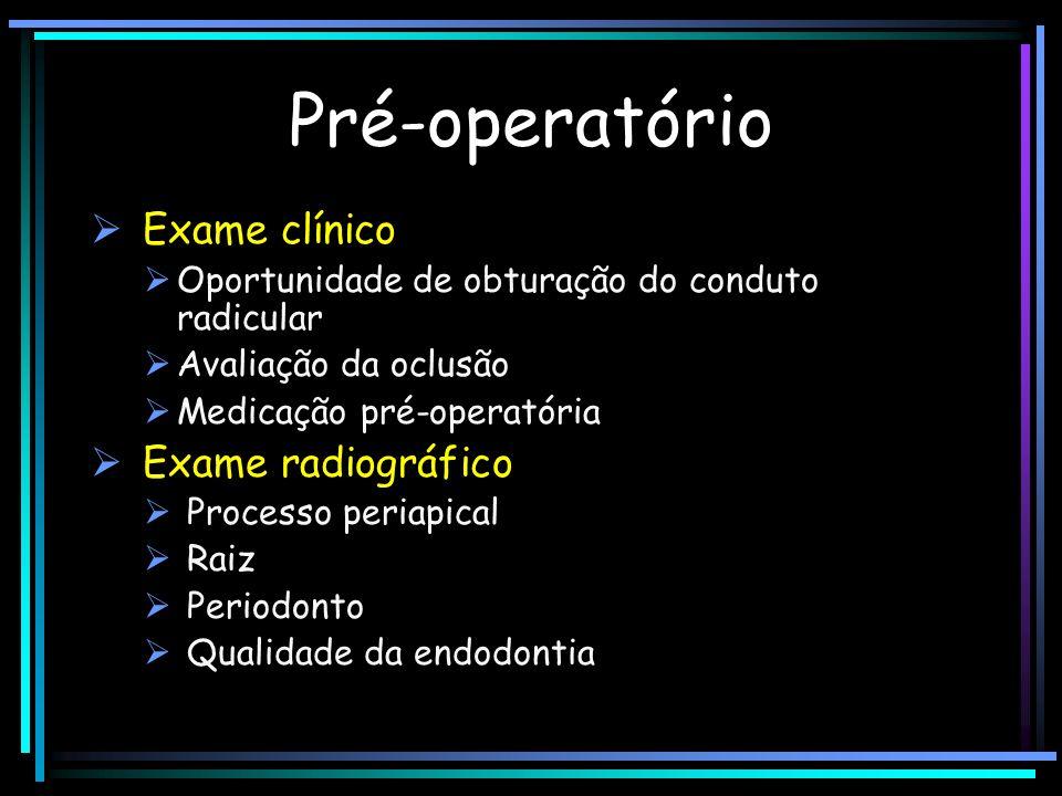Pré-operatório Exame clínico Oportunidade de obturação do conduto radicular Avaliação da oclusão Medicação pré-operatória Exame radiográfico Processo