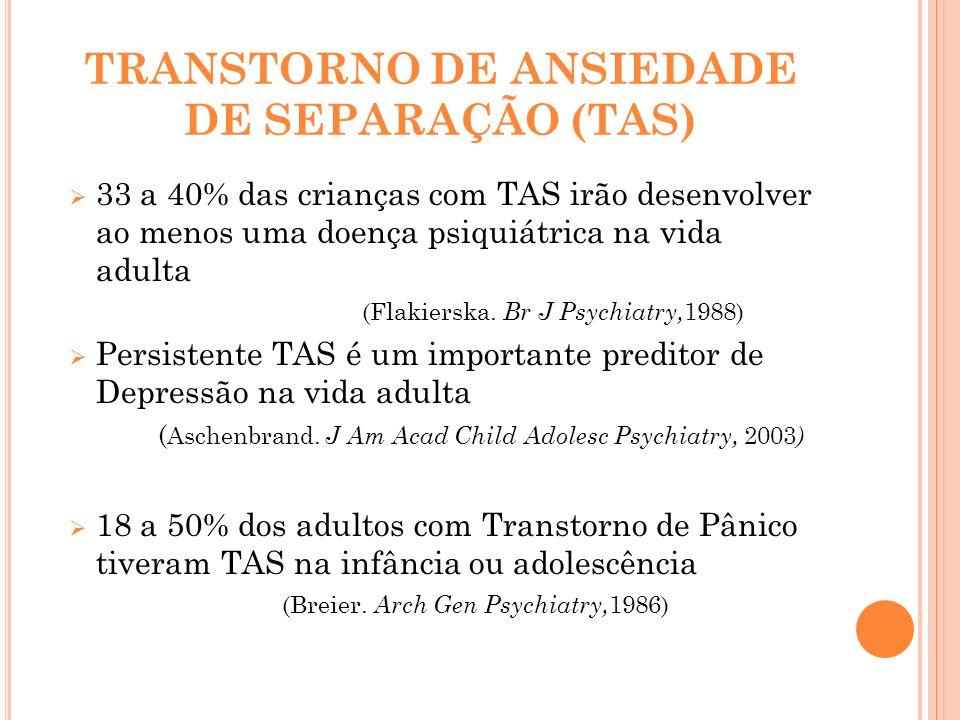 TRANSTORNO DE ANSIEDADE DE SEPARAÇÃO (TAS) 33 a 40% das crianças com TAS irão desenvolver ao menos uma doença psiquiátrica na vida adulta (Flakierska.