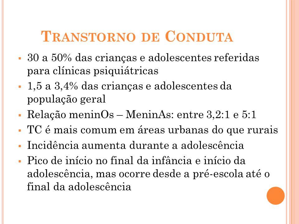 T RANSTORNO DE C ONDUTA 30 a 50% das crianças e adolescentes referidas para clínicas psiquiátricas 1,5 a 3,4% das crianças e adolescentes da população