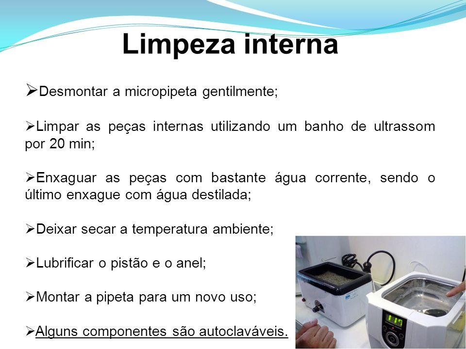 Limpeza interna Desmontar a micropipeta gentilmente; Limpar as peças internas utilizando um banho de ultrassom por 20 min; Enxaguar as peças com basta