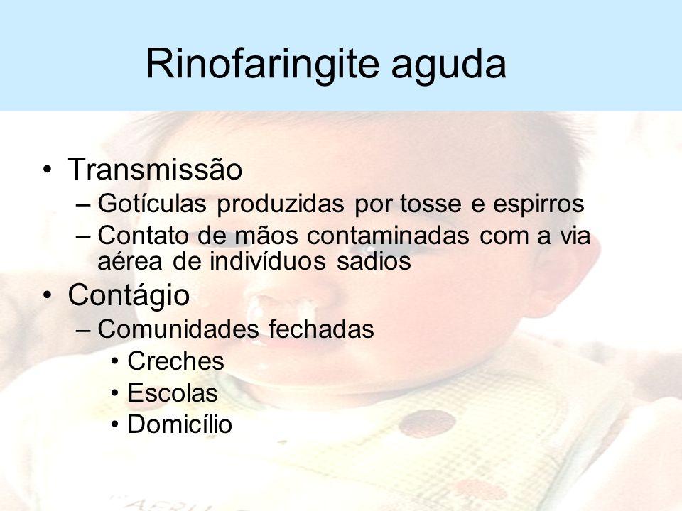 Rinofaringite aguda Etiologia geralmente viral –Rinovírus –Coronavírus –Vírus sincicial respiratório –Parainfluenza –Metapneumovírus –Influenza –Adeno