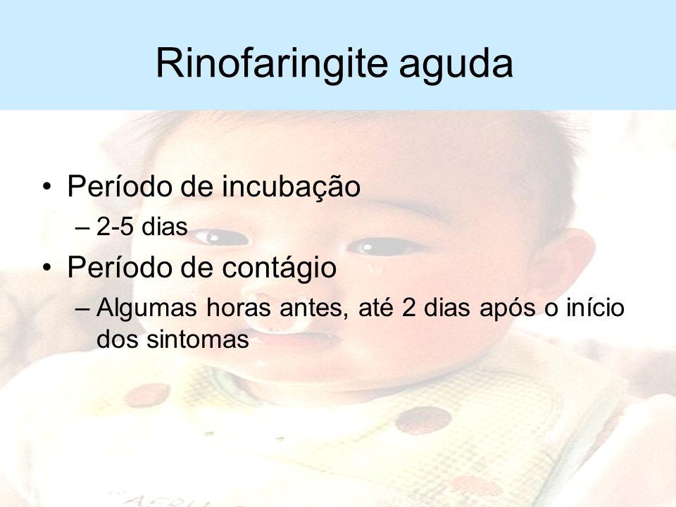 Rinofaringite aguda Transmissão –Gotículas produzidas por tosse e espirros –Contato de mãos contaminadas com a via aérea de indivíduos sadios Contágio