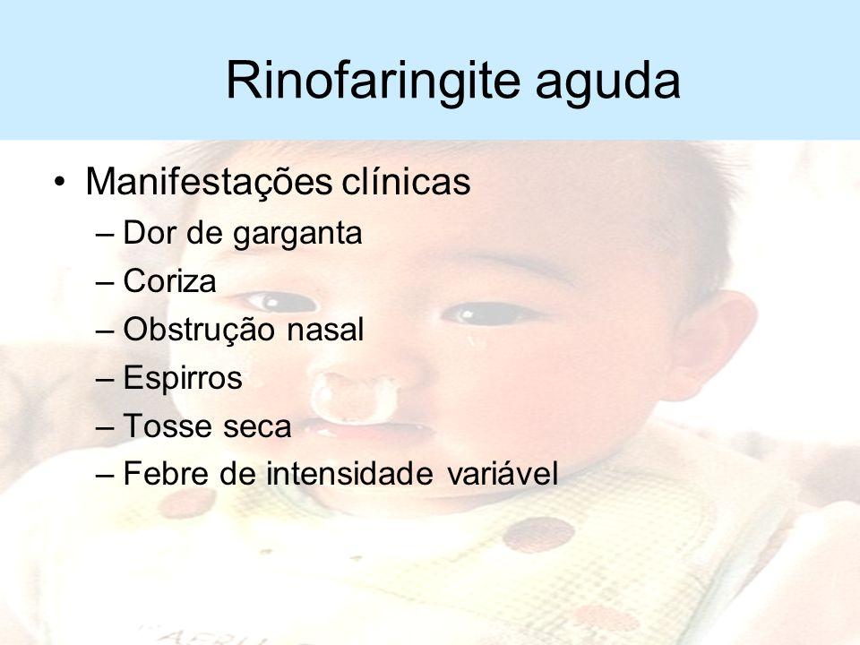 Rinofaringite aguda Período de incubação –2-5 dias Período de contágio –Algumas horas antes, até 2 dias após o início dos sintomas