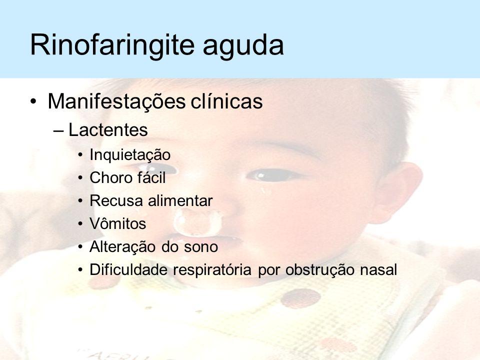 Rinofaringite aguda Manifestações clínicas –Dor de garganta –Coriza –Obstrução nasal –Espirros –Tosse seca –Febre de intensidade variável