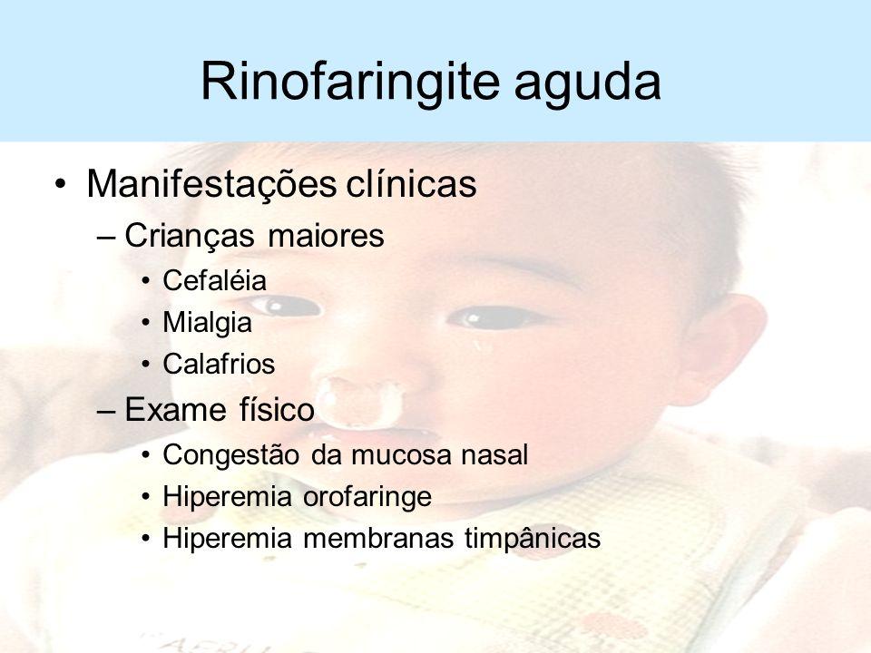 Rinofaringite aguda Manifestações clínicas –Lactentes Inquietação Choro fácil Recusa alimentar Vômitos Alteração do sono Dificuldade respiratória por