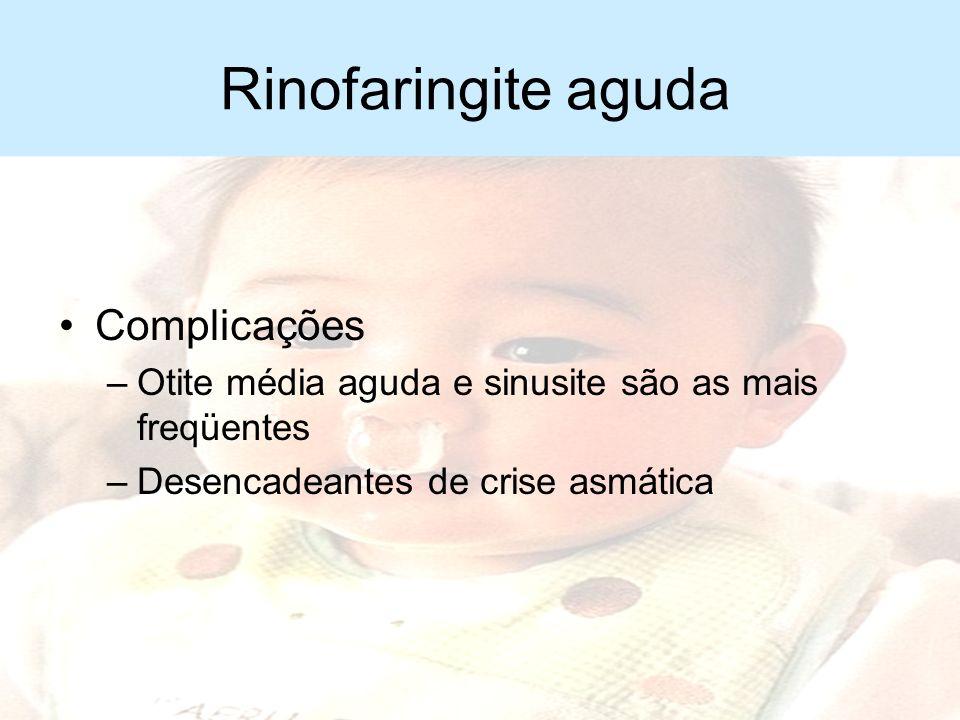 Rinofaringite aguda Complicações –Persistência da febre além de 72 horas –Recorrência de hipertermia –Prostração mais acentuada –Dificuldade respirató