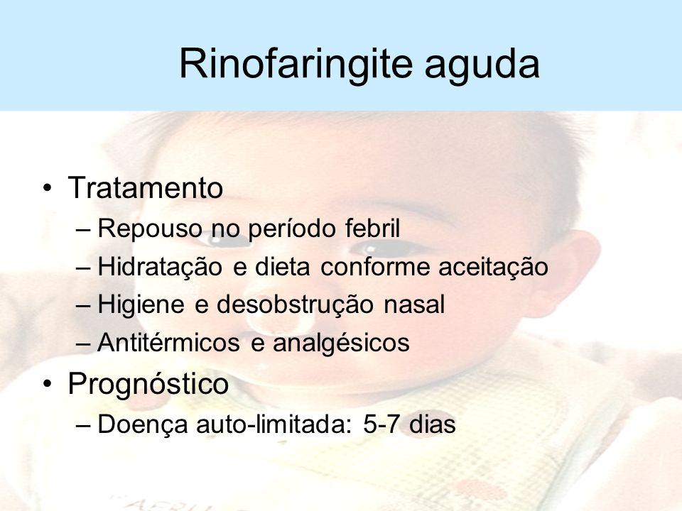 Rinofaringite aguda Diagnóstico –Clínico –Quadros repetidos Pensar em alergia respiratória (rinite alérgica)