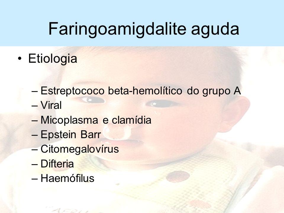 Faringoamigdalite aguda Infecção aguda da orofaringe Epidemiologia –Após os 3 anos de idade –Final do outono, inverno e primavera (nos climas temperad