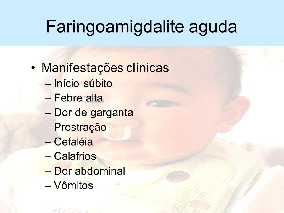 Faringoamigdalite aguda Importância –Complicações supurativas –Reações não supurativas tardias Febre reumática Glomerulonefrite aguda