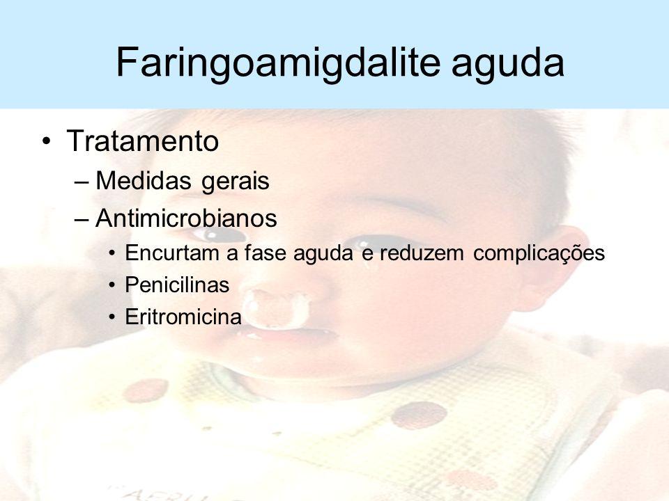 Faringoamigdalite aguda Complicações –Adenite cervical –Abcesso periamigdaliano –Sepse –Choque tóxico –Otite média aguda –Artrite reacional –Febre reu