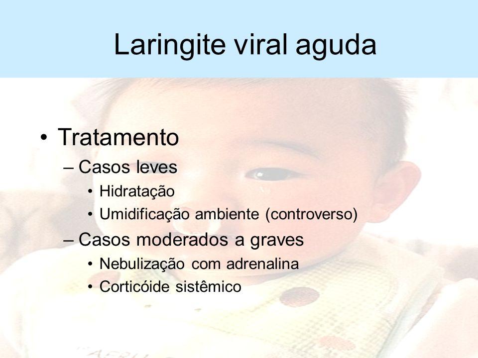 Laringite viral aguda Diagnóstico diferencial –Corpo estranho –Laringotraqueíte bacteriana –Laringite diftérica –Laringoedema alérgico –Abcesso retrof