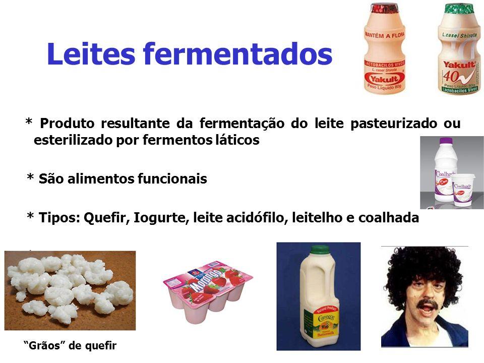 Leites fermentados * Produto resultante da fermentação do leite pasteurizado ou esterilizado por fermentos láticos * São alimentos funcionais * Tipos: