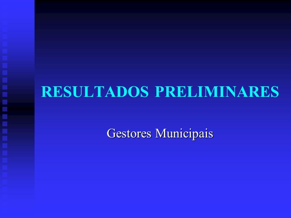 RESULTADOS PRELIMINARES Gestores Municipais