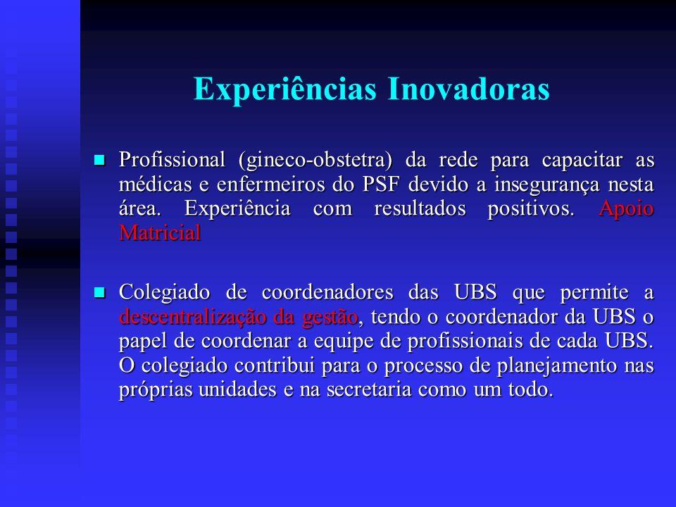 Experiências Inovadoras Profissional (gineco-obstetra) da rede para capacitar as médicas e enfermeiros do PSF devido a insegurança nesta área.