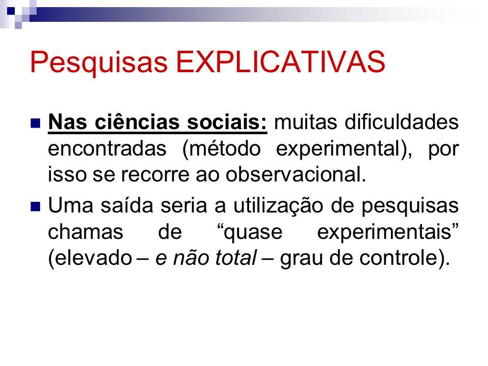 Pesquisas EXPLICATIVAS Nas ciências sociais: muitas dificuldades encontradas (método experimental), por isso se recorre ao observacional. Uma saída se