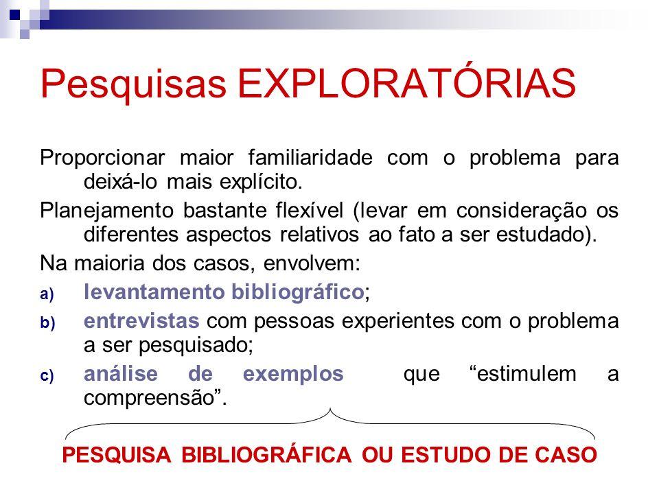 Pesquisas EXPLORATÓRIAS Proporcionar maior familiaridade com o problema para deixá-lo mais explícito. Planejamento bastante flexível (levar em conside