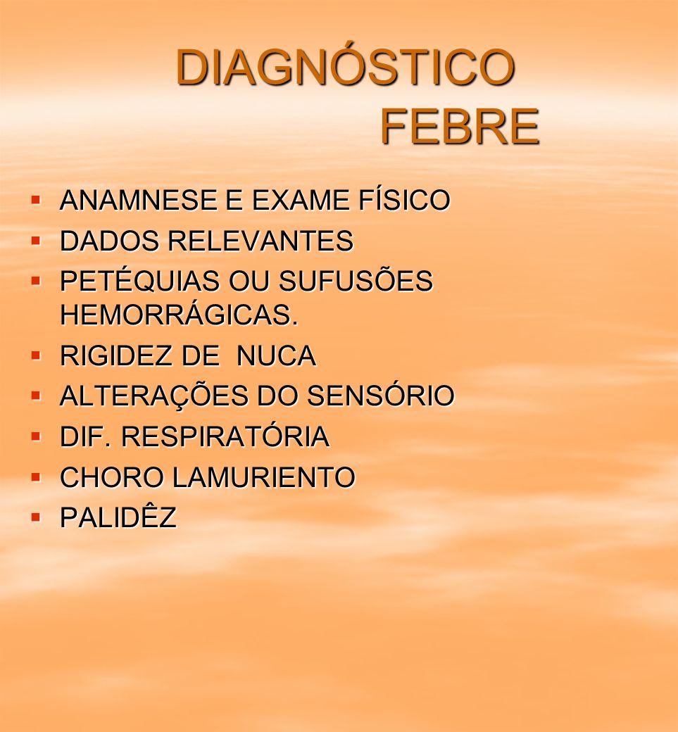 DIAGNÓSTICO FEBRE DIAGNÓSTICO FEBRE ANAMNESE E EXAME FÍSICO ANAMNESE E EXAME FÍSICO DADOS RELEVANTES DADOS RELEVANTES PETÉQUIAS OU SUFUSÕES HEMORRÁGIC