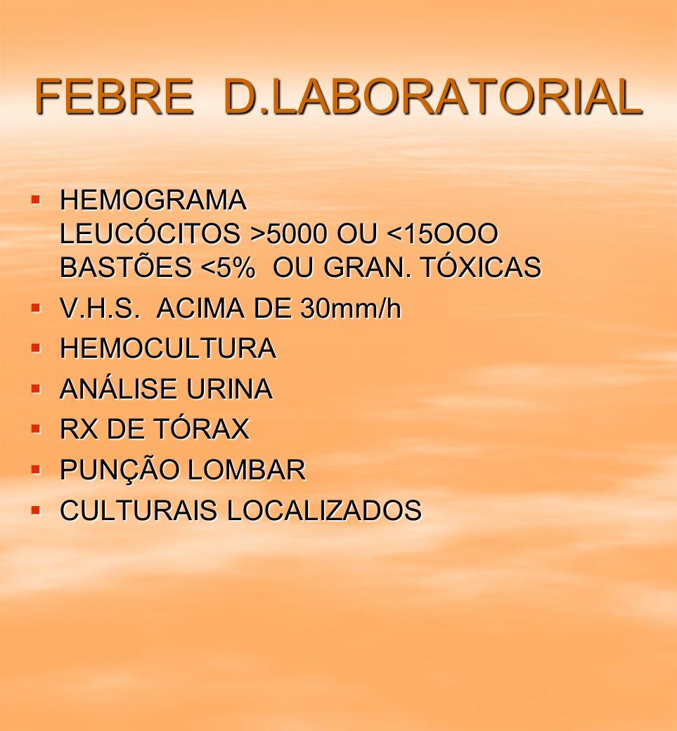 FEBRE D.LABORATORIAL HEMOGRAMA LEUCÓCITOS >5000 OU 5000 OU <15OOO BASTÕES <5% OU GRAN. TÓXICAS V.H.S. ACIMA DE 30mm/h V.H.S. ACIMA DE 30mm/h HEMOCULTU