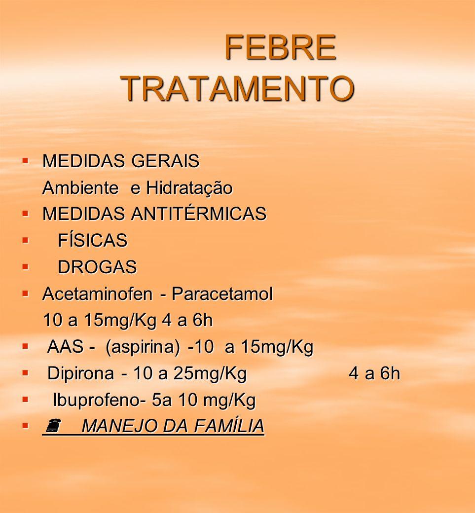 FEBRE TRATAMENTO FEBRE TRATAMENTO MEDIDAS GERAIS MEDIDAS GERAIS Ambiente e Hidratação MEDIDAS ANTITÉRMICAS MEDIDAS ANTITÉRMICAS FÍSICAS FÍSICAS DROGAS