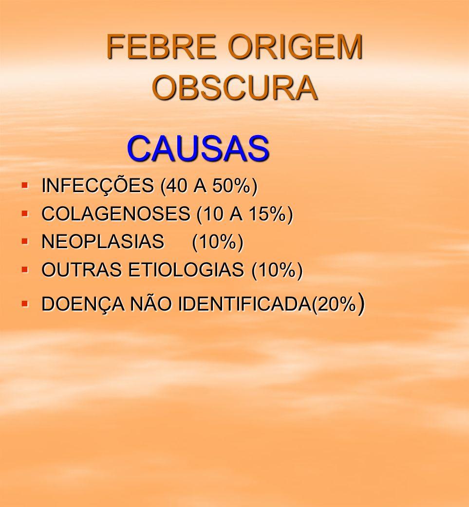 FEBRE ORIGEM OBSCURA CAUSAS CAUSAS INFECÇÕES (40 A 50%) INFECÇÕES (40 A 50%) COLAGENOSES (10 A 15%) COLAGENOSES (10 A 15%) NEOPLASIAS (10%) NEOPLASIAS