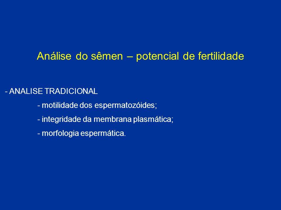 Análise do sêmen – potencial de fertilidade - ANALISE TRADICIONAL - motilidade dos espermatozóides; - integridade da membrana plasmática; - morfologia