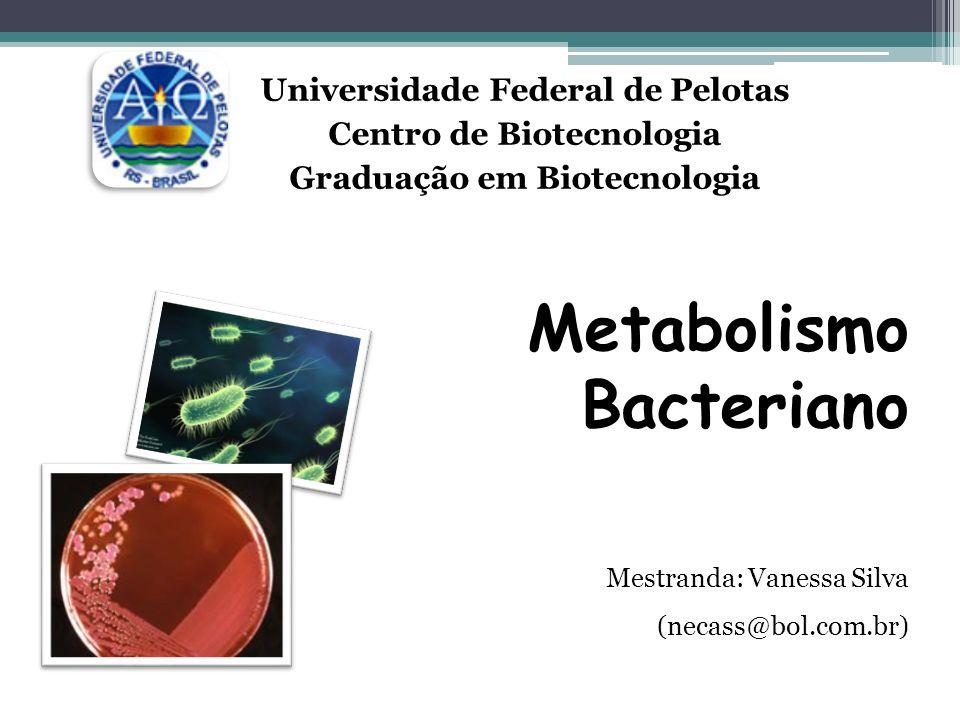 Universidade Federal de Pelotas Centro de Biotecnologia Graduação em Biotecnologia Metabolismo Bacteriano Mestranda: Vanessa Silva (necass@bol.com.br)