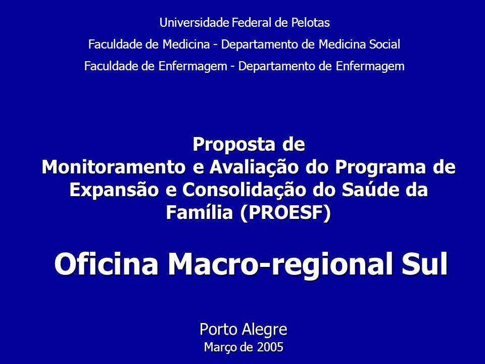 Proposta de Monitoramento e Avaliação do Programa de Expansão e Consolidação do Saúde da Família (PROESF) Oficina Macro-regional Sul Porto Alegre Març