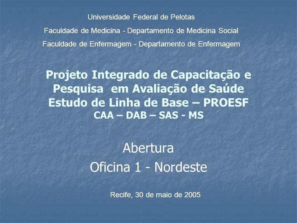 Projeto Integrado de Capacitação e Pesquisa em Avaliação de Saúde Estudo de Linha de Base – PROESF CAA – DAB – SAS - MS Abertura Oficina 1 - Nordeste