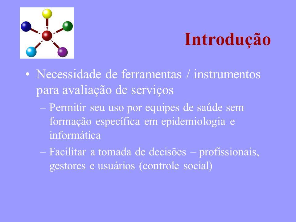 Introdução Necessidade de ferramentas / instrumentos para avaliação de serviços –Permitir seu uso por equipes de saúde sem formação específica em epid