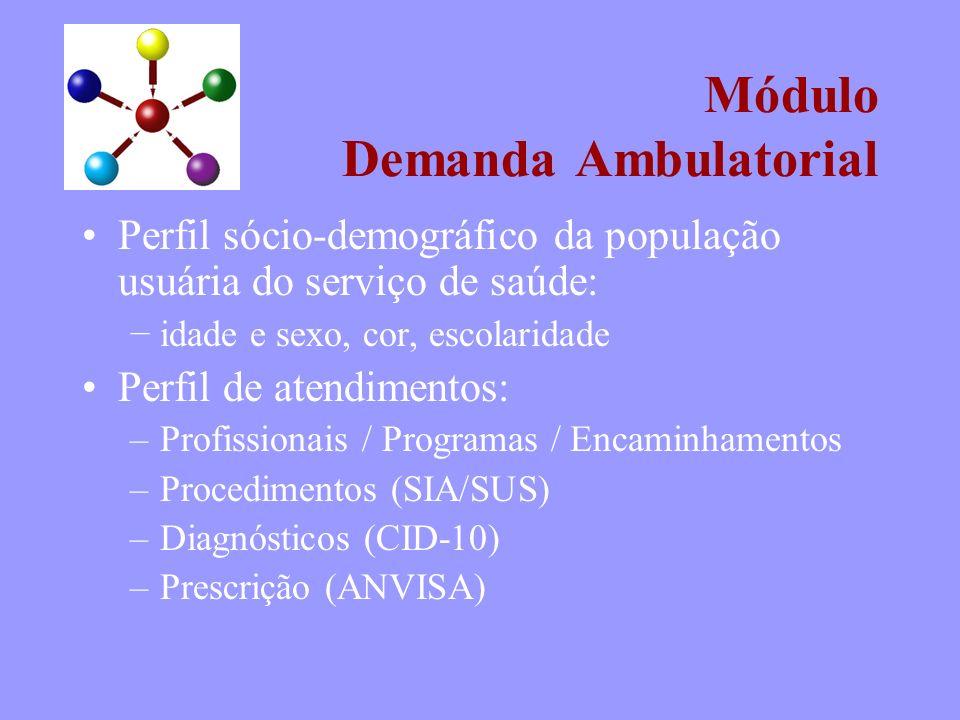 Módulo Demanda Ambulatorial Perfil sócio-demográfico da população usuária do serviço de saúde: idade e sexo, cor, escolaridade Perfil de atendimentos: