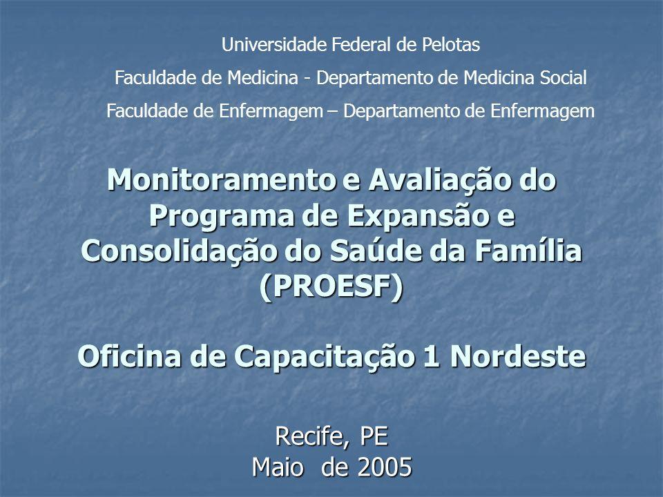 PSF – evolução e abrangência PSF: situação em 2004 Implantado em 4.498 (80,9%) municípios do Brasil, totalizando: Implantado em 4.498 (80,9%) municípios do Brasil, totalizando: 19.182 equipes de saúde da família (35,9% da população) 19.182 equipes de saúde da família (35,9% da população) 184.934 agentes comunitários de saúde (54,2% da população) 184.934 agentes comunitários de saúde (54,2% da população) 6.367 equipes de saúde bucal (20,9% da população) 6.367 equipes de saúde bucal (20,9% da população) Fonte: SIAB, janeiro de 2004 Fonte: SIAB, janeiro de 2004 Fonte: SIAB, janeiro de 2004 Fonte: SIAB, janeiro de 2004 O PSF vem se expandindo continuamente, mas sua presença em municípios de mais de 100.000 habitantes, nas regiões Sul e Sudeste ainda é pequena O PSF vem se expandindo continuamente, mas sua presença em municípios de mais de 100.000 habitantes, nas regiões Sul e Sudeste ainda é pequenaPSF vem se expandindo continuamentemas sua presençaPSF vem se expandindo continuamentemas sua presença
