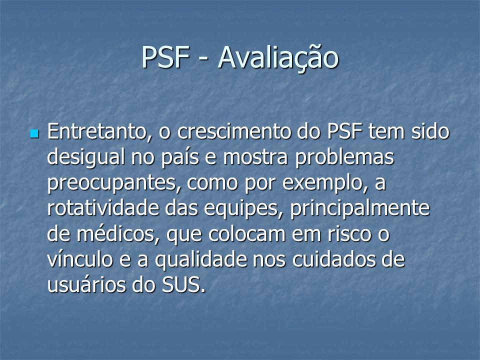 PSF - Avaliação Entretanto, o crescimento do PSF tem sido desigual no país e mostra problemas preocupantes, como por exemplo, a rotatividade das equip
