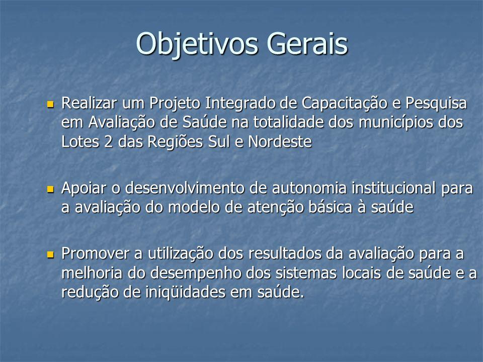 Objetivos Gerais Realizar um Projeto Integrado de Capacitação e Pesquisa em Avaliação de Saúde na totalidade dos municípios dos Lotes 2 das Regiões Su