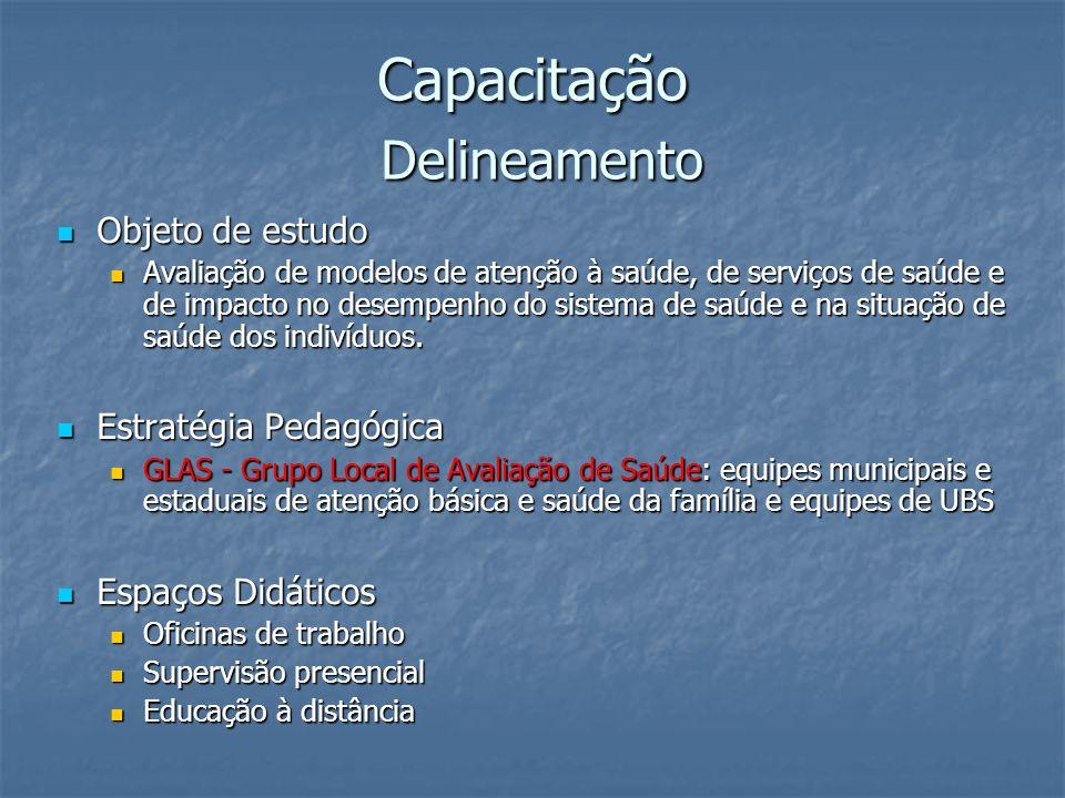 Capacitação Delineamento Objeto de estudo Objeto de estudo Avaliação de modelos de atenção à saúde, de serviços de saúde e de impacto no desempenho do