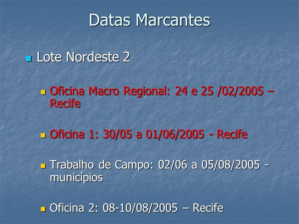 Datas Marcantes Lote Nordeste 2 Lote Nordeste 2 Oficina Macro Regional: 24 e 25 /02/2005 – Recife Oficina 1: 30/05 a 01/06/2005 - Recife Trabalho de C