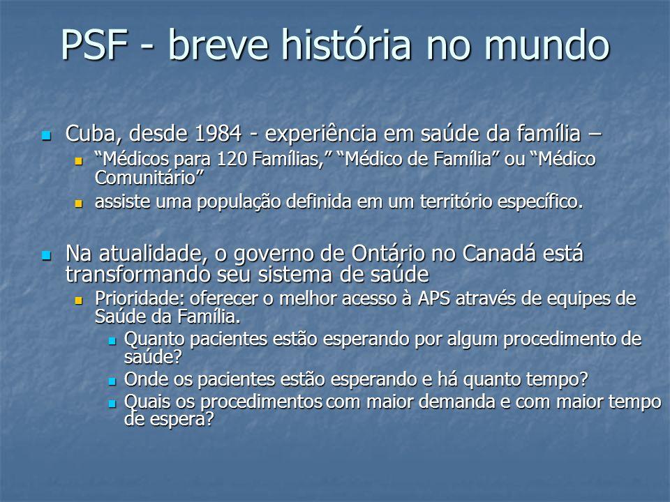 PSF - breve história no mundo Cuba, desde 1984 - experiência em saúde da família – Cuba, desde 1984 - experiência em saúde da família – Médicos para 1