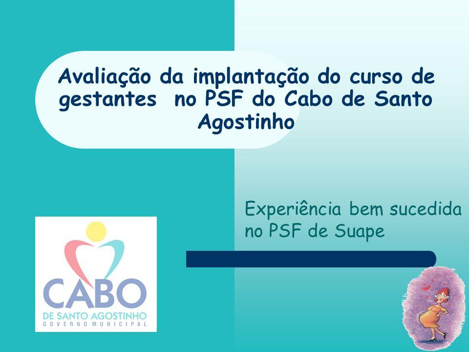 Avaliação da implantação do curso de gestantes no PSF do Cabo de Santo Agostinho Experiência bem sucedida no PSF de Suape