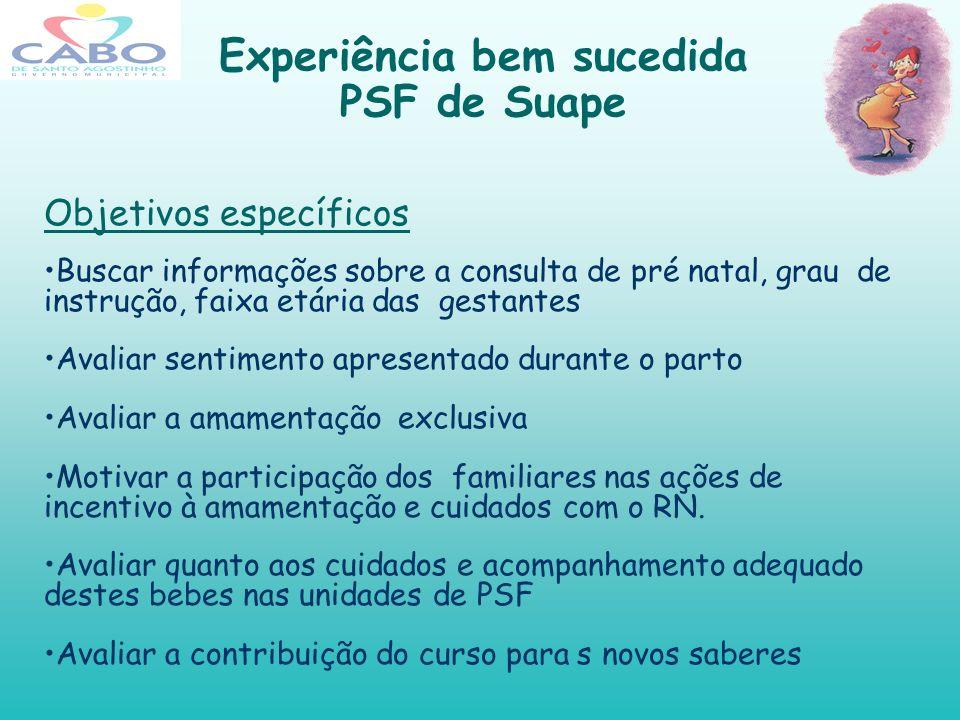 Experiência bem sucedida PSF de Suape Objetivos específicos Buscar informações sobre a consulta de pré natal, grau de instrução, faixa etária das gest