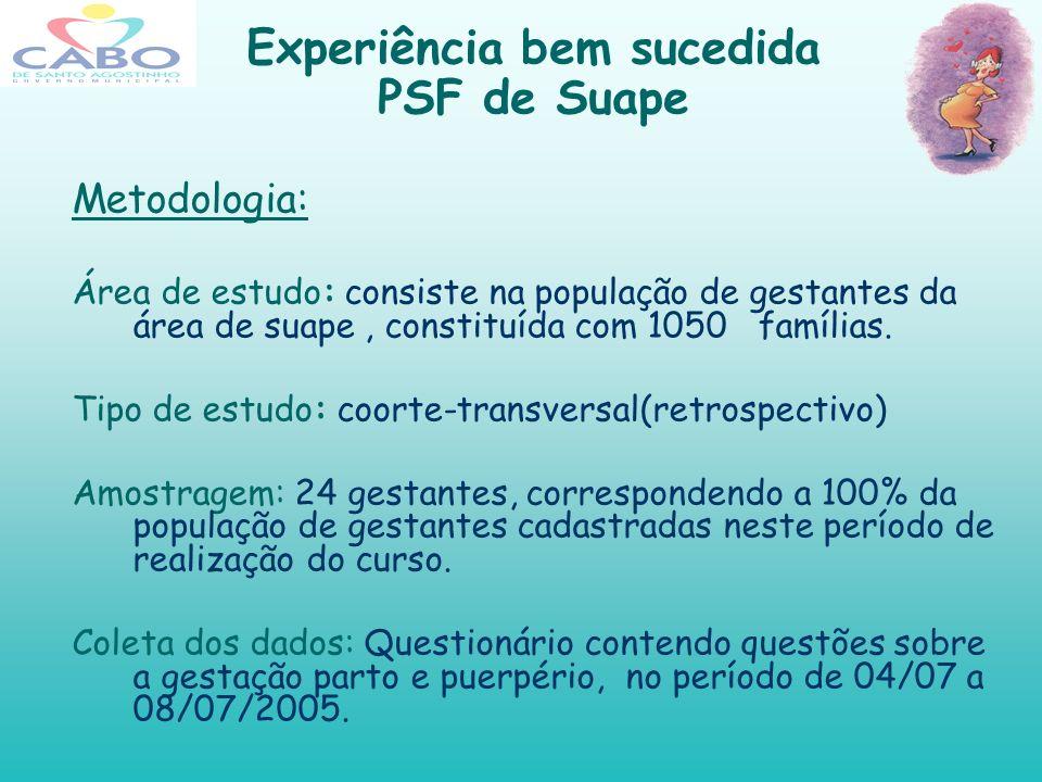Experiência bem sucedida PSF de Suape Observa-se que 71% dessas gestantes mantiveram o aleitamento materno exclusivo até os seis meses e 29% com alimentação mista.